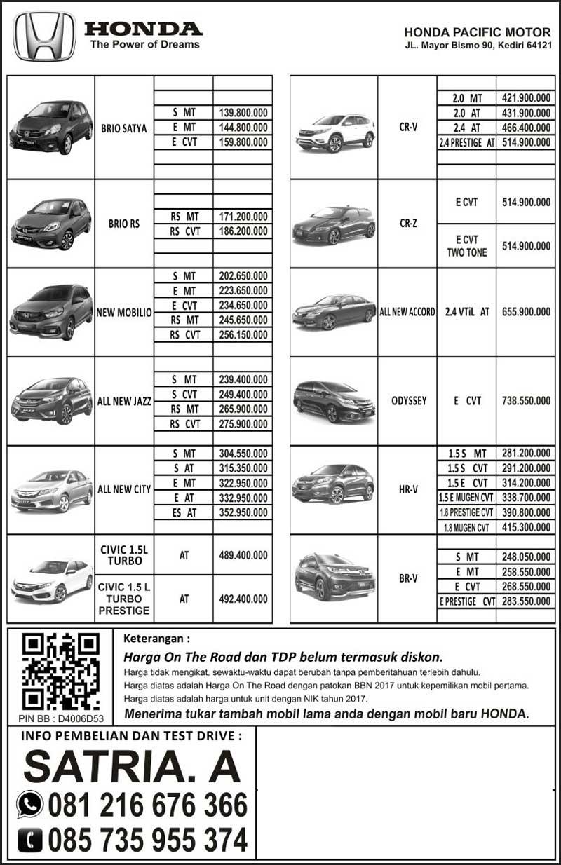 Harga Mobil Honda Kediri By Satria