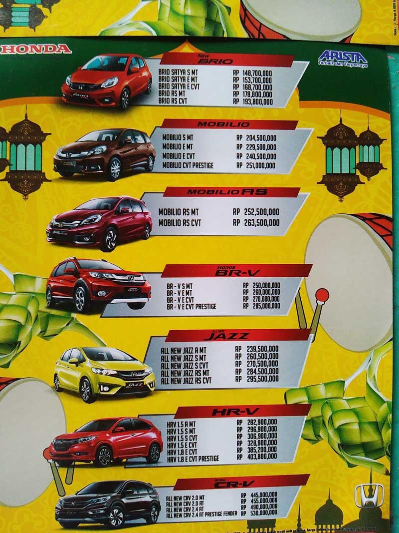 Harga 1 Mobil Honda Pematang Siantar